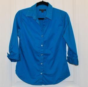 3/4 Sleeve Banana Republic Button-Up Shirt Blue